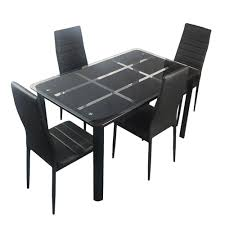 Buy Bonnlo 5 Pieces Dining Table Set For 4 Glass Top Modern Dining