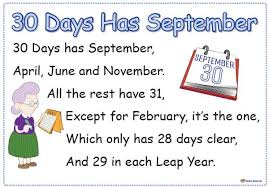 30 days has september rhyme