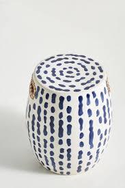 indigo dotted stripes ceramic stool