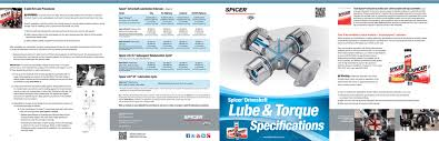 Spicer U Joint Chart Lubrication And Torque Specifications Universal Joints