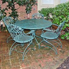 Green wrought iron patio furniture Old Ebthcom Hunter Green Wrought Iron Patio Set Ebth