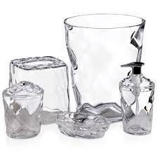 clear glass bathroom accessories. glass blocks 5-piece bath accessory set, clear bathroom accessories