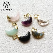 FUWO Faceted Crystal Quartz <b>Crescent</b> Pendant With 24K Gold ...