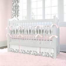 pink and gray elephants 3 piece crib bedding set