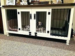 dog cage end table wooden crate unique double kennel handmade solid wood decorative furniture side uk