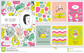 School Cover Page Design Cute Diary Cover And Page Template Stock Vector