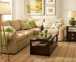 living room - green and brown, orange accent, espresso, natural fibers, love