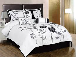 chezmoi collection 7 pieces white grey and black lily with leaf applique comforter in inch set bed in a bag queen size bedding