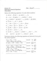 six types of chemical reaction worksheet worksheet writing and balancing chemical equations