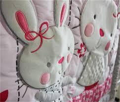 4pcs pink rabbits baby girl crib nursery bedding set quilt per sheet skirt