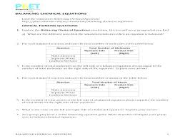 balancing chemical reactions worksheet luxury equations