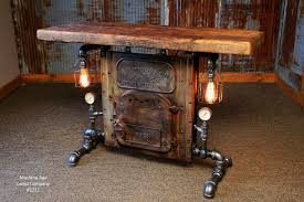 industrial age furniture. Steampunk Industrial Table / Antique Boiler Door Steam Gauge Barn Wood Pipe Age Furniture