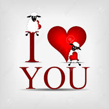 red heart with text i love you and beatiful cute sheep stock