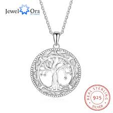 tree of life large pendant necklace jewelry 925 sterling silver necklaces pendants for women best gift jewelora ne101908 length 45cm