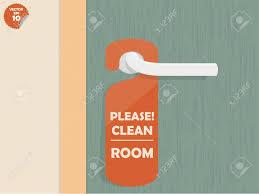 please lock door. Door Lock Hanging Room Tag With Text Shown Please Clean Room,room Design Stock D