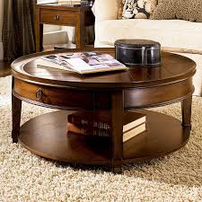 dark brown rustic wooden round coffee table sets with storage and shelf to complete
