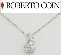 roberto coin 18k white gold diamond teardrop pendant necklace 18
