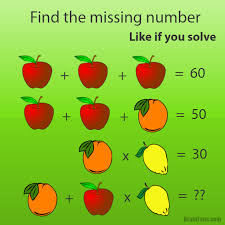 brain teaser number and math puzzle fruit puzzle find the missing number and