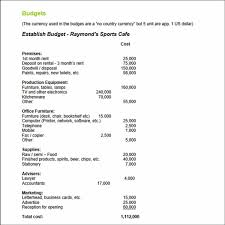 Sample Budget Proposal Business Proposal For Sports Cafe Budget Table Form Sample Business 17