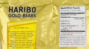 here s the ing list for haribo gold bears corn syrup sugar gelatin dextrose citric acid corn starch artificial and natural flavors