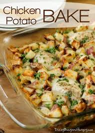 easy chicken dinner recipes. Contemporary Dinner Overhead View Of Chicken Potato Bake With Melted Cheese In A Clear  Casserole Dish Throughout Easy Dinner Recipes 0