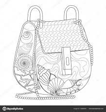 Kleurplaat Voor Volwassenen Tas Met Schelpen Stockvector L