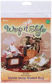 darice shrink wrap basket bag 30 x 30 inches 3 colors