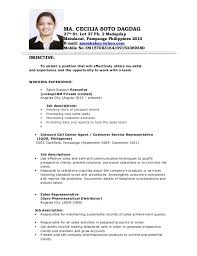 Best Solutions of Sample Resume For Call Center Agent Without Experience  Philippines Also Cover Letter