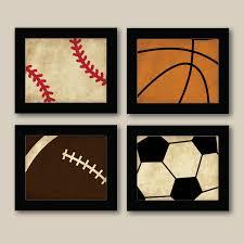 set of 4 vintage sports prints baseball football by on vintage sport wall art with kids sports wall art elitflat