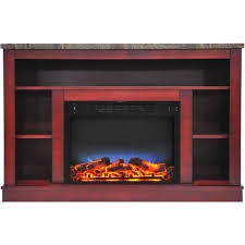 electric fireplace with a multi color led insert and cherry mantel