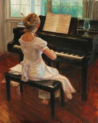 soloist by artist t gudmundsen violinist seated at a piano