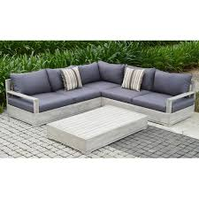 wood outdoor sectional. Beautiful Sectional Beranda 3Piece Eucalyptus Wood Outdoor Sectional Set With Cushions And  PillowsBERANDA3  The Home Depot Throughout A