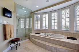 master bath in luxury home with step up bathtub
