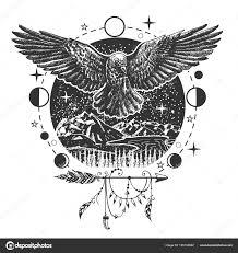 вектор черный ворон татуировки или футболку дизайн распечатки