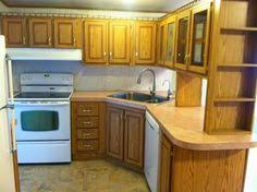 Amazing Roughly $150 Kitchen Makeover (mobile Home) Painting Fake Wood Cabinets Home Design Ideas