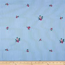 Embroidered Yarn Dyed Poplin <b>Floral Stripe</b> Chambray/Fuchsia ...