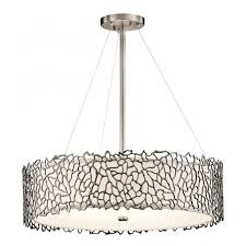 modern silver c ceiling pendant with glass diffuser