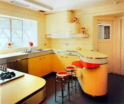 White Mid Century Kitchen Hardwood Floor White Ceramic Backsplash Laminated Kitchen  Cabinet Standard Eased Edge Profiles