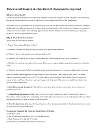 Stock Audit Basics Checklist Of Documents Required Inventory