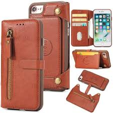 2 in 1 zipper pocket leather wallet case detachable tpu cell phone cover