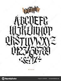 Celá Abeceda Gotickém Slohu Vektor Písmena Symboly Bílém Pozadí