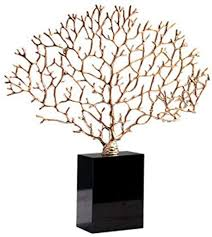 DQM Luxurious Decorative Coral Sculpture with Crystal Base, <b>Metal</b> ...