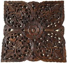 asian carved wood wall decor plaque
