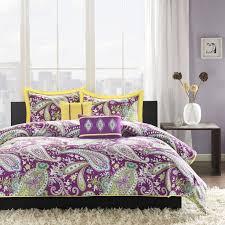 stylish purple bedding set design ideas for modern apartment bedroom