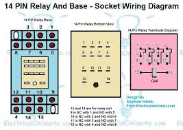 14 pin relay wiring diagram wiring source \u2022 5 pin relay connection diagram 14 pin relay base wiring diagram finder 14 pin relay diagram rh electricalonline4u com 14 pin relay base wiring diagram 14 pin relay socket wiring diagram
