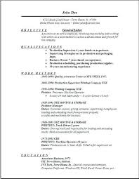General Labor Resume Examples Joefitnessstore Com