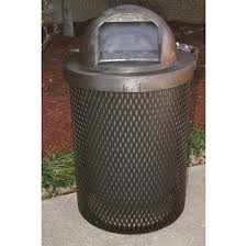 picture of 32 gallon trash can with dome top plastic coated expanded metal quick