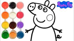 how to draw color a peppa pig cartoon drawing on new learning 4 kids toddlers learn colors