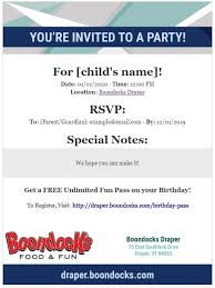 Free Online Birthday Invitations To Email Online Party Invitations Boondocks Food Fun Draper Ut