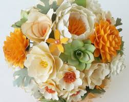 paper bouquet paper flower bouquet wedding bouquet oranges and succulents custom made any color